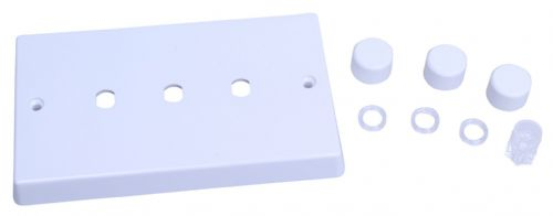 Varilight WQD3W White Plastic 3 Gang Dimmer Plate Only + Dimmer Knobs
